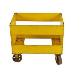 unusual c. 1940's vintage american industrial brightly colored yellow enameled all-welded heavy gauge steel mobile factory cart. #industrial #vintagecart