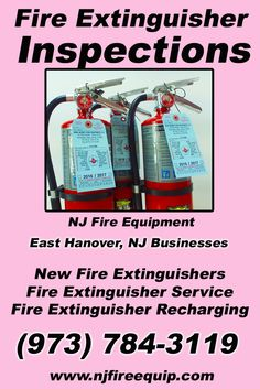 Fire Extinguisher Inspections East Hanover, NJ (973) 784-3119We're NJ Fire Equipment.. The Main Source for Fire Protection for New Jersey Businesses. Call Today!  We would love to hear from you.