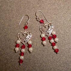 Heart Crystal & Pearl Chandelier Earrings by TheGemGirlJewelry, $38.00