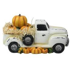 Northlight Truck Full of Pumpkins and Hay Thanksgiving Table Top Figure at Lowe's. Drive into the fall season with this adorable truck filled with pumpkins. Display alone or pair with other decorative elements to create a unique table Thanksgiving Table, Thanksgiving Decorations, Halloween Decorations, Thanksgiving Flowers, Thanksgiving Projects, Christmas Tables, Thanksgiving Parties, Holiday Centerpieces, Fall Projects