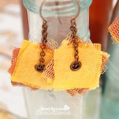 Make Easy Earrings From Upcycled Fabric! These are made from my late grandfather's hanky. You can use old dress shirts, t-shirts or whatever fabric speaks to you!