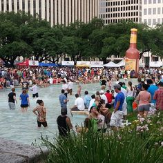 Houston Beer Fest 2013. City Hall's reflection pond turned into a swimming pool.