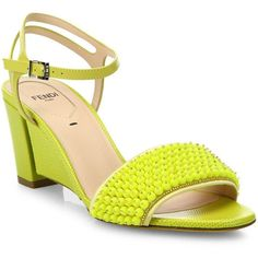 Fendi Fantasia Beaded Leather Sandals ($955) ❤ liked on Polyvore featuring shoes, sandals, apparel & accessories, yellow, beaded sandals, padded sandals, leather shoes, open toe shoes and fendi sandals