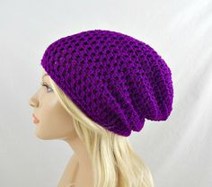 Neon Purple Slouchy Beanie Womens Crochet Slouch Hat Hot Purple Winter Hat Neon Purple Crochet Beanie