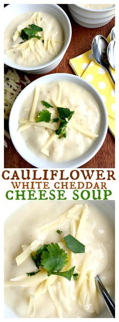 Cauliflower White Cheddar Cheese Soup can be pureed to a creamy or chunkier-style soup! (Cheddar Cheese Making) Pureed Food Recipes, Diet Recipes, Cooking Recipes, Healthy Recipes, Atkins Recipes, Diabetic Recipes, Soft Food Recipes, Puree Soup Recipes, Chicken Recipes