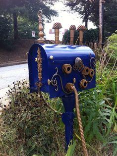 Steampunk mailbox. Great idea.