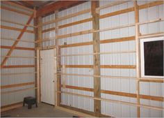 Pole Barn Wall Framing Page 3 The Garage Journal Board Interior Covering  Forum Img 3184 | Pole Barn Interiors | Pinterest | Barn, Interiors And Walls