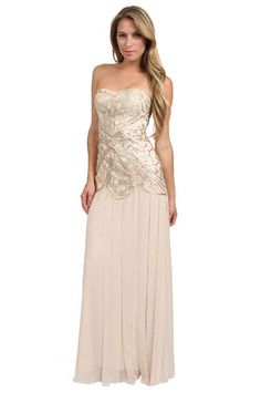 The Sweetheart Applique Long Dress in Champagne by Sue Wong at CoutureCandy.com