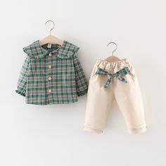 Children Girls Clothing Set Spring Toddler Baby girls clothes Long sleeve loose plaid shirt Suit set For Girl Fall Fashion Pants , Source by outfits baby girl Baby Fall Fashion, Kids Fashion, Baby Frocks Designs, Baby Dress Design, Baby Dress Patterns, Baby Kids Clothes, Baby Outfits Newborn, Little Girl Dresses, Outfit Sets