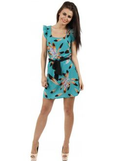 Green Feather Print Butterfly Sleeve Dress