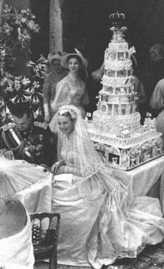 Prince Rainier III and Princess Grace of Monaco at their wedding reception.
