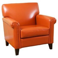 Arm chair with orange upholstery.  Product: ChairConstruction Material: Solid wood and bonded leatherColor: Burnt orange and espressoFeatures: Softly padded arms, back, and cushionDimensions: 34.25 H x 35.04 W x 33.86 D