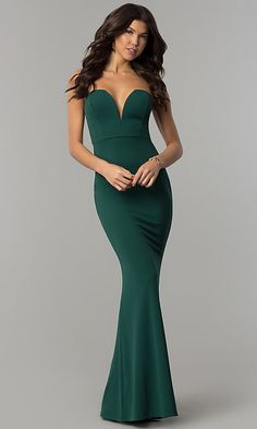 1a057ef87b9 Image of long strapless low-sweetheart prom dress with cut out. Style  SY