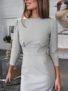 Back Tie With Autumn And Winter Clothes Bag Hip Skirt Bodycon Dress Classy Dress, Classy Outfits, Chic Outfits, Dress Outfits, Fashion Dresses, Sweater Dresses, Girly Outfits, Chic Dress, Elegant Dresses