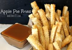 """The easiest apple pie recipe ever has been transformed into a fun, snack-like dessert. I Can't Believe It's Not Apple Pie Fries have all of the flavor of an apple pie but in finger food form. Each """"fry"""" is like a mini apple pie in itself. Apple Pie Recipe Easy, Apple Pie Recipes, Pumpkin Recipes, Delicious Desserts, Dessert Recipes, Yummy Food, Fruit Recipes, Fried Apple Pies, Fried Pies"""