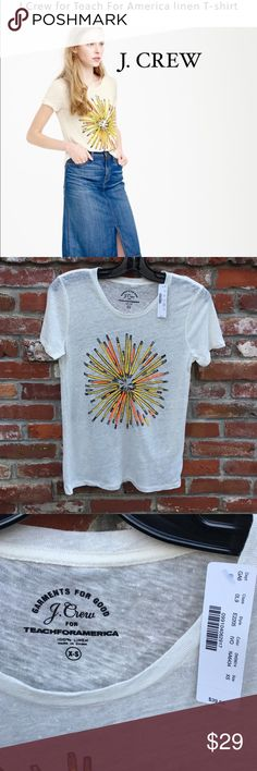 J. Crew Linen T-Shirt Teach for America Featuring artwork inspired by a very creative 8th-grader from Tennessee (and the winner of the Teach For America design contest), this T-shirt supports the nonprofit organization that trains and places recent college graduates and professionals in under-resourced communities nationwide to help ensure that all kids receive an excellent education. Fifty percent of the retail price from the sale of this T-shirt will be donated to Teach For America…