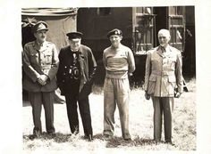 Churchill with Montgomery, Sir Alan Brooke (far left) and FM Jan Smuts, June 1944 (War Office) Story Of Jacob, Bernard Montgomery, British Prime Ministers, Ww2 Photos, Teaching History, Winston Churchill, Historical Pictures, African History, North Africa
