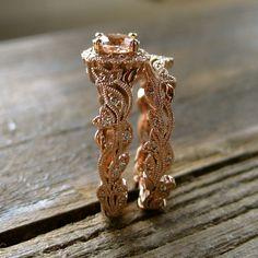 Morganite Engagement Ring & Matching by AdziasJewelryAtelier