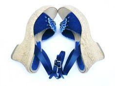 #Vintage #Blue #Jeans #Wedge #Sandals
