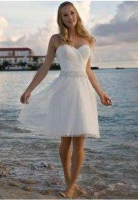 Short organza sweetheart a-line wedding dress.