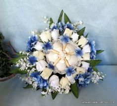 Beach bridal bouquet in blue and white_beach wedding on Etsy, $125.00