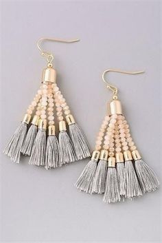 Montego Bay-Grey. Beaded tassel earrings. #JewelryIdeas