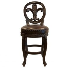 York Dark Brown Leather Old World Tuscan Style Bar Stool