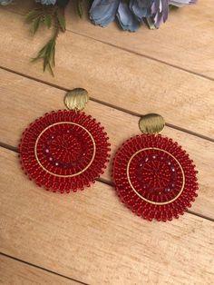 Seed Bead Earrings, Beaded Earrings, Earrings Handmade, Beaded Jewelry, Crochet Earrings, Ear Jewelry, Jewelry Accessories, Jewelry Making, Woven Image