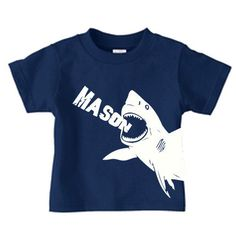Personalized shark t-shirt for boys, shark birthday t shirt for kids