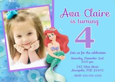 Little Mermaid Ariel Birthday Party by PrettyPaperPixels on Etsy, $8.99
