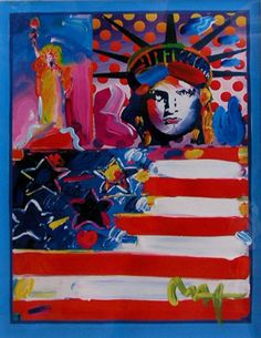 """Works on Paper (not prints) """"God Bless America II 2001 Unique"""" by Peter Max"""