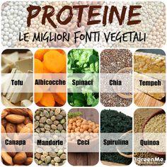 Proteine vegetali. Le proteine non sono contenute unicamente negli alimenti di origine animale. Anche i prodotti vegetali infatti ne sono ricchi. Con una dieta a base vegetale correttamente bilanciata è possibile assicurarsi il quantitativo di proteico necessario al fabbisogno quotidiano del nostro organismo, che può variare soprattutto a seconda dell'età e del peso corporeo. Raw Food Recipes, Vegetarian Recipes, Healthy Tips, Healthy Recipes, Vitamin A, Gym Food, Health And Wellbeing, Vegan Life, Going Vegan