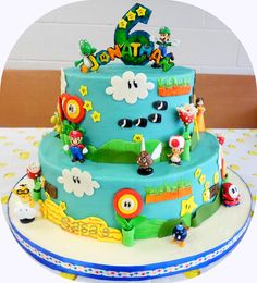 Mario Brothers Cake, Chocolate & White cake with American Butter cream & Fondant Details/Fondant topper & Toy Figurines