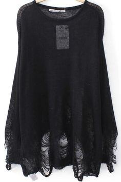 Strick-Pulli mit zerrissenem Design, schwarz 17.99