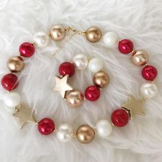 Christmas Chunky NecklaceRed Green Gold Chunky