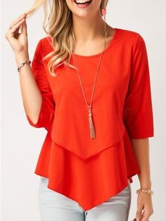 Women Blouse Designs, Women Blouses And Tops, Formal Blouses For Women Stylish Tops For Girls, Trendy Tops For Women, Blouses For Women, Red Blouses, Shirt Blouses, Flowy Shirts, Blouse Designs, Ideias Fashion, Quarter Sleeve