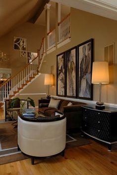 Decorating Tall Walls Design Ideas, Pictures, Remodel, and Décor I like the triptych art  on large blank wall to fill it.