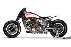 At the behest of American motorcycle giant Indian, Young Guns Speed Shop has taken a 2016 Indian Scout Sprint Racer and created what it calls the Miracle Mike American Motorcycles, Custom Motorcycles, Custom Bikes, Indian Motorcycles, Concept Motorcycles, Bobber Motorcycle, Motorcycle Style, Tracker Motorcycle, Bobber Bikes