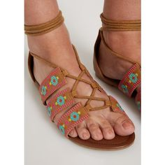 Bright Tribal Embroidered Gladiator Sandal | Flat Sandals | rue21 ❤ liked on Polyvore featuring shoes, sandals, tribal print sandals, greek sandals, gladiator sandals shoes, flat shoes and tribal print shoes