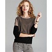 Aqua Cashmere Sweater - Color Block Side Slit Crewneck