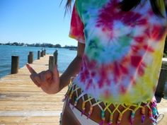 Tie Dye Shirt with easy fringe and beads