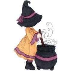 Halloween Sunbonnet  Sue Witches Machine Embroidery Quilt Blocks