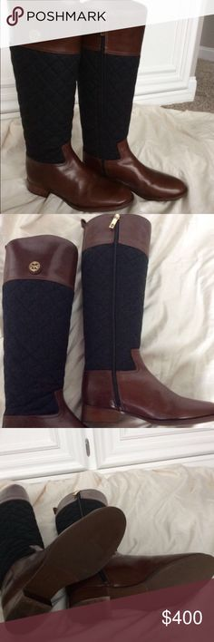"""Tory Burch Rosalie Riding Boots This pair of boots is in """"like new"""" condition! Only worn once. Box included.  Almond leather/charcoal quilted flannel - equestrian silhouette Quilted flannel and smooth leather. Small signature logo at top of boot and on zipper pull. Fits true to size 17"""" shaft height This boot is gorgeous, classic and comfortable. Tory Burch Shoes Heeled Boots"""
