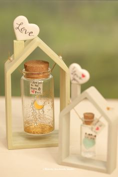 Handmade wood House floating frame/floating Swing,Frame your message,Tiny message in a bottle,Person Bottle Charms, Bottle Art, Jar Crafts, Wood Crafts, Mini Glass Bottles, Message In A Bottle, Valentines Diy, House In The Woods, Diy Gifts