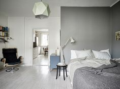 A scandinavian studio flat with smart space saving ideas - ITALIANBARK - grey green walls