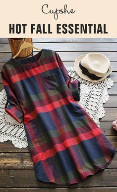 What a comfy T-shirt dress! Decent plaid pattern and cute round neck. Pocket at front bring you great convience. Free shipping. Time to prepare for next season!