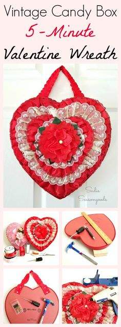 Perhaps the easiest DIY Valentine's Day wreath craft project EVER! Repurpose and upcycle a vintage Valentine candy box (you know the kind I'm talking about- heart shaped, covered in lace and ruffles and flowers) into a super simple wreath to hang on your door! It's truly a 5-minute craft because the ornate box does all the decorating for you! Fun Valentine upcycle from Sadie Seasongoods / www.sadieseasongoods.com