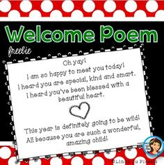Freebie: First day of school poem.  Here is a short poem that you can hand out as a gift to your students on the first day of school.    Please contact me if you have any questions or suggestions (duplessislindy@gmail.com).  Have fun teaching! Lindy   Copyright © Lindy du Plessis.