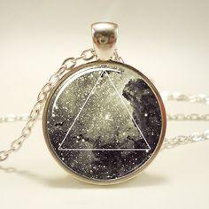 Galaxy Triangle Necklace Hipster Nebula Jewelry by rainnua on Etsy