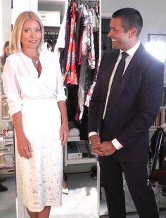 ♥♥♥ Kelly Ripa ♥♥♥ Kelly Ripa in a white lace Rebecca Taylor pencil skirt, and white Joie blouse. Husband Mark Consuelos in a Ralph Lauren outfit. LIVE with Kelly and Michael Fashion Finder Kelly Ripa Mark Consuelos, Fashion Finder, Style Finder, Rebecca Taylor, Work Attire, Work Clothes, Office Wear, Street Chic, White Lace